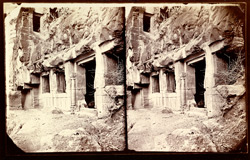 View from the right of the façade of the lower storey of Buddhist vihara, Cave VI, Ajanta